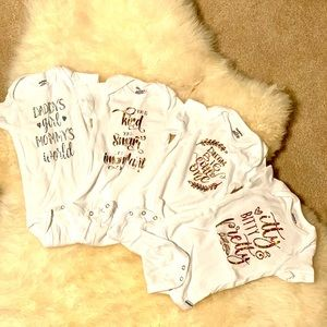 4 Gerber Onesies with sayings. Size 6-9 months